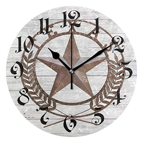 Nugier Texas Star Round Wall Clock Silent Non Ticking Custom Acrylic Painted Easy to Read Non-Ticking Home Art Bedroom Living Dorm Room Decor 9.45