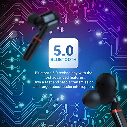 True Wireless Earbuds Bluetooth 5.0 Headphones in-Ear TWS Mini Headset for Sport Deep Bass Stereo Earphones HD Sound Waterproof Noise Cancelling Mic 40 Hours Playtime Black