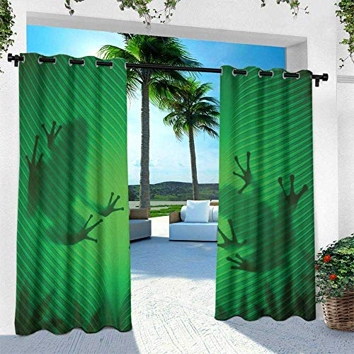 (Hengshu Animal, Indoor/Outdoor Single Panel Print Window Curtain,Frog Shadow Silhouette on The Banana Tree Leaf in Tropical Lands Jungle Games Graphic, W108 x L84 Inch, Green )