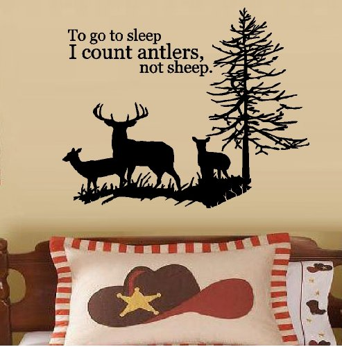 BestPricedDecals to GO to Sleep I Count Antlers NOT Sheep #3: Deer Family Tree ~ Wall Decal 22