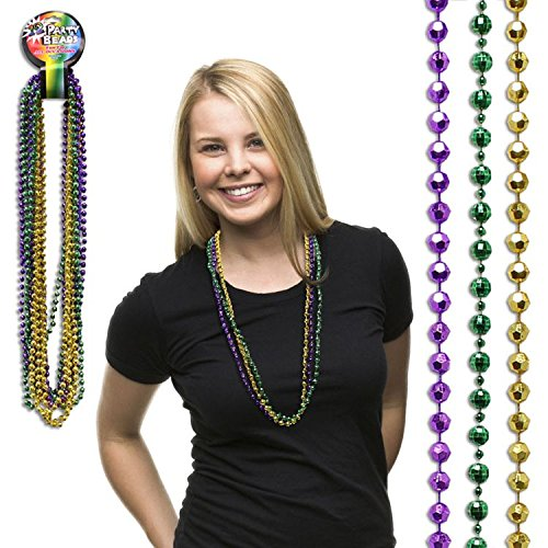 Mardi Gras Bead Faceted Necklaces-33