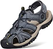 JOYVIP Mens Hook-Loop Fisherman Beach Shoes Leather Flat Roman Gladiator Sandal with Arch Support