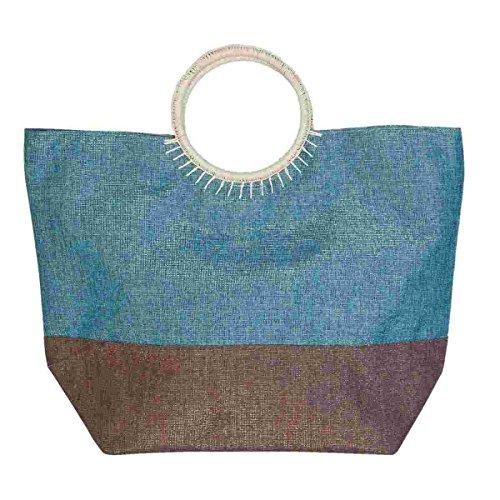 Clayre & Eef bag283Borsa Shopper Borsa da spiaggia borsa per la spesa turchese circa 38x 23x 42cm
