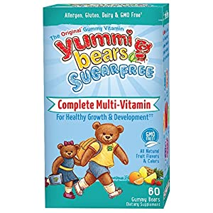 Yummi Bears Sugar Free Multivitamin and Mineral Gummy Vitamin for Kids, 60 Gummy Bears