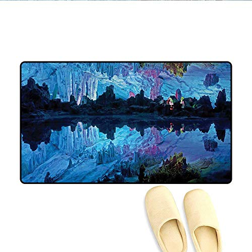 Doormat,Illuminated Reed Flute Cistern with Artifical Lights Crystal Palace Myst Cave Image,Bath Mat 3D Digital Printing Mat,Blue,Size:16