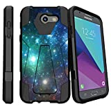 MINITURTLE Case Compatible w/ Shock Hybrid Case [Shock Fusion] Hard Shell Case Designed for [Samsung Galaxy J3 Emerge | J3 Prime | J3 Eclipse | Galaxy Luna Pro] Case w/ BuiltIn Stand Blue Space Specs