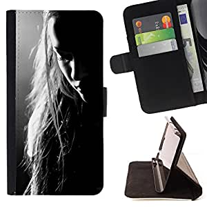 "For Sony Xperia Z5 (5.2 Inch) / Xperia Z5 Dual (Not for Z5 Premium 5.5 Inch),S-type Mujer Triste Melancholia Depresión"" - Dibujo PU billetera de cuero Funda Case Caso de la piel de la bolsa protectora"