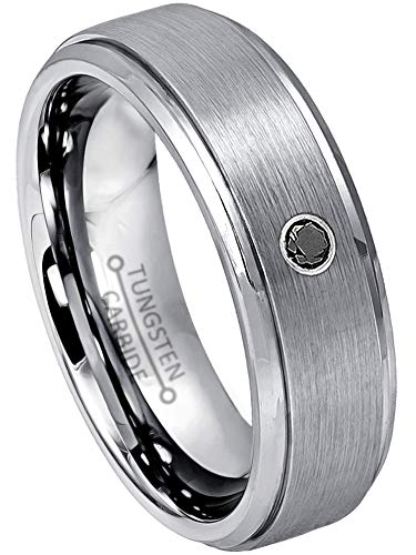 Jewelry Avalanche 0.07ct Black Diamond Tungsten Ring - April Birthstone Ring - 6MM Brushed Finish Comfort Fit Tungsten Carbide Wedding Band -14