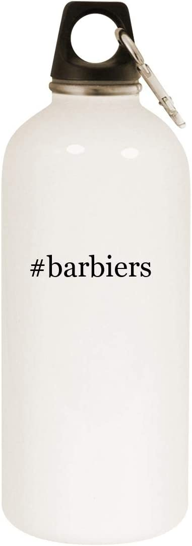#barbiers - 20oz Hashtag Stainless Steel White Water Bottle with Carabiner, White