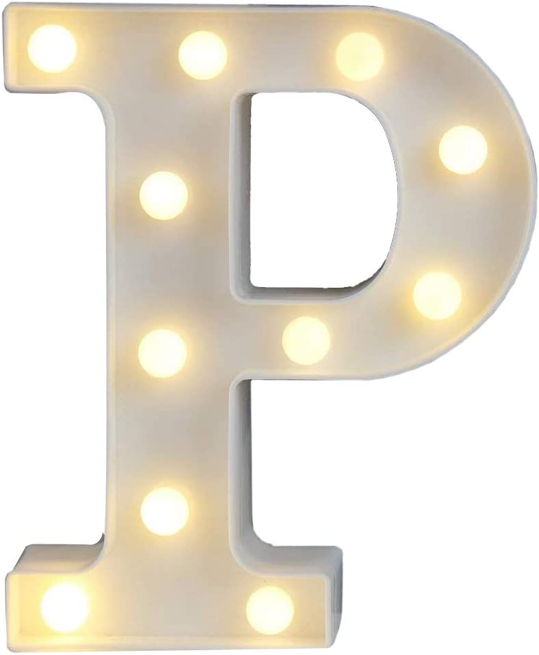 Sunnyglade White Marquee LED Alphabet Lights Arabic Numerals Lights for Party Home Bar Wedding Decor, Alphabet Wall Decoration Letter Lights (P)