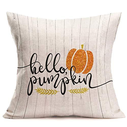 Royalours umpkin Pillow Cover Hello Pumpkin Quote Decorative Cotton Linen Throw Pillow Cover for Thanksgiving Fall Harvest Home Decor 18 x 18r (HPF01)