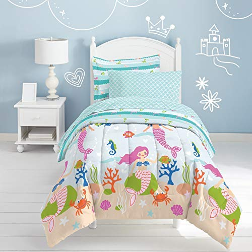Dream Factory Mermaid Dreams Comforter Set, Twin, Light Blue ()