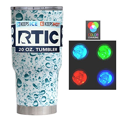 RTIC Bundle - Custom Powder Coated or Dipped 20 Ounce (20oz) (20 oz) Tumbler Cup Mug with lid and awesome Multicolor LED Light for color changing effect (Dipped Teal Water Drops)