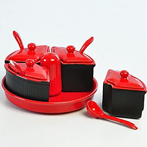 Cultural Concepts Black N Red Pickle Set With Salt Dispenser 6 Cup