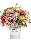 CL Artificial Fake Silk Rose Sunflower Gerbera With Iron Pot For Home Kitchen Garden Living Room Hotel Office Party Decorations Or As Festival Birthday Gift (Color 6)