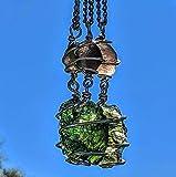 MOLDAVITE & SAFFORDITE Pendant 925 Silver Jewelry