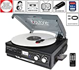Boytone BT-17DJB-C 6-in 1 Turntable 3-Speed Stereo, 2 Built in Speakers Digital LCD Display AM/FM Radio + Supports USB/SD/AUX+ MP3, Cassette & WMA Playback /Recorder & Headphone Jack + Remote
