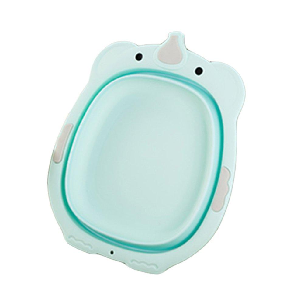 BELUPAI Baby Collapsible Washbasin, Outdoor Travel Collapsible Basin Portable Stretchy Washing Basin Foldable Bath Tub Water Storage Basin (Green)