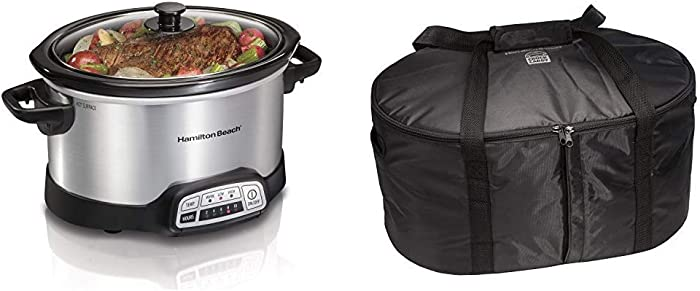 Hamilton Beach 4-Quart Programmable Slow Cooker With Dishwasher-Safe Crock and Lid, Silver (33443) & Hamilton Beach Travel Case & Carrier Insulated Bag (33002),Black
