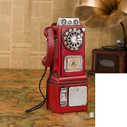 DIDIDD Decoraciones-modelo de juguete de hojalata Handainted de la cabina telefónica de Londres,C
