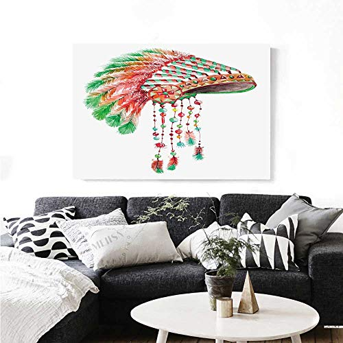 Feather Canvas Print Wall Art Tribal Chief Costume Headdress Native American Culture Ethnicity Symbol Art Stickers 20
