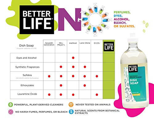 Better Life Dish Soap, Unscented, 22 oz