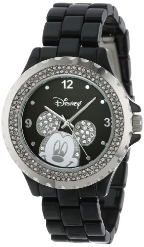 Disney Women's 56270-1B Mickey Mouse Rhinestone-Accented Black-Enamel Sparkle Watch (Enamel Dial Black)