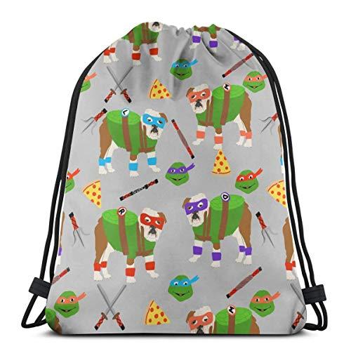 English Bulldog Mutant Turtles - Dog Dogs, Pet, Cartoon, Cosplay, Comic, Halloween Dogs_16181 3D Print Drawstring Backpack Rucksack Shoulder Bags Gym Bag for Adult -
