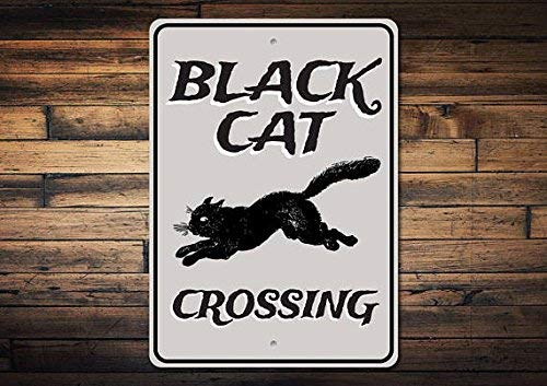 Black Cat Crossing Sign Black Cat Decor Black Cat Sign Halloween Cat Sign Cat Lover Gift Cat Bad Luck Sign Metal Aluminum Sign 8x12 inch ()