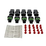 auto connectors - MUYI 10 Kit 2 Pin Way Waterproof Electrical Connector 1.5mm Series Terminals Heat Shrink