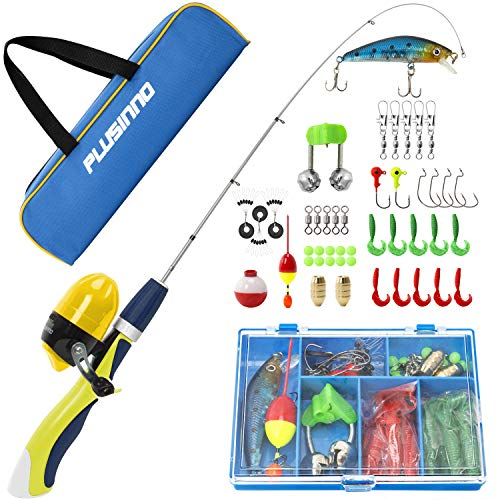 PLUSINNO Kids Fishing Pole,Portable Telescopic Fishing Rod and Reel Full Kits, Spincast Fishing Pole for Kids, Boy, Youth (Yellow Handle with Bag, 150CM 59.05IN)