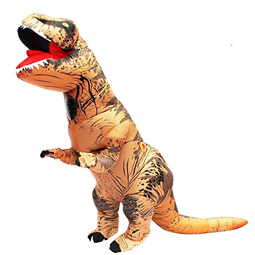 BIGPETS Inflatable Adult Dinosaur T-Rex Costume Suit Fancy Dress Halloween (Brown)