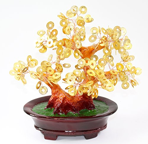 Feng Shui Gold Coins Money Fortune Tree Bonsai Home Decor Wealth Blessing Gift US Seller (Gold Coins TRE105) (Sale For Lion Chinese Statue)