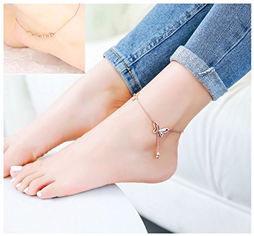 YHMM Silver Stainless Steel Anklets for Women Girls Ankle Chains Bracelets Adjustable Beach Anklet Foot Jewelry (2 Pcs Silver-Tone) by YHMM (Image #2)'