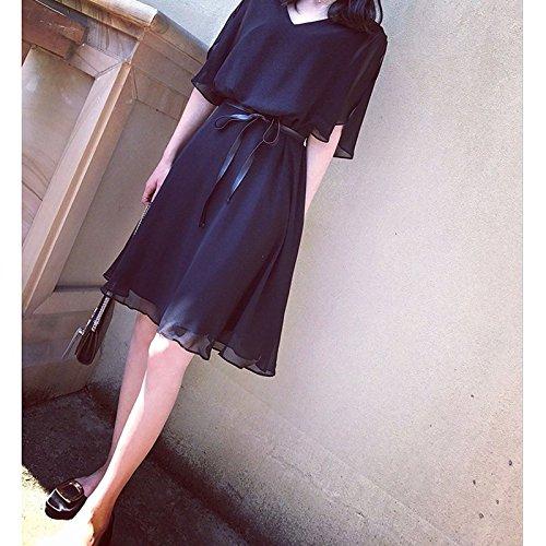 130 Jin Robe Fat V mm 2XL 140 Femme Black Petite Robe Noire col Grande Robe MiGMV Mousseline Fille xgagq6