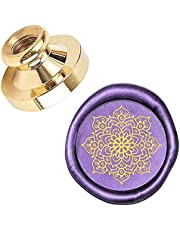 PandaHall Wax Seal Stamp Kit, 25mm Six-pointed Stars Retro Brass Head Sealing Stamps with Wooden Handle, Removable Sealing Stamp Kit for Wedding Envelopes Letter Card Invitations