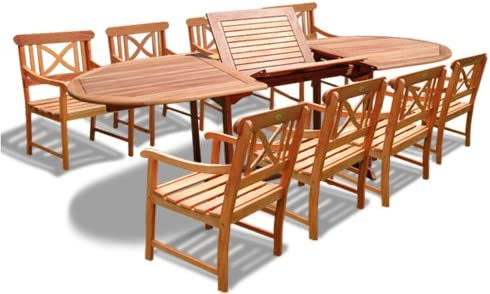 VIFAH V144SET18 Oval Extension Table and Wood Armchair Outdoor Dining Set