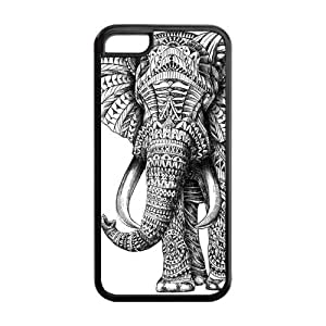 Black and White Aztec Elephant Protective Rubber Cover Case for iPhone 5C
