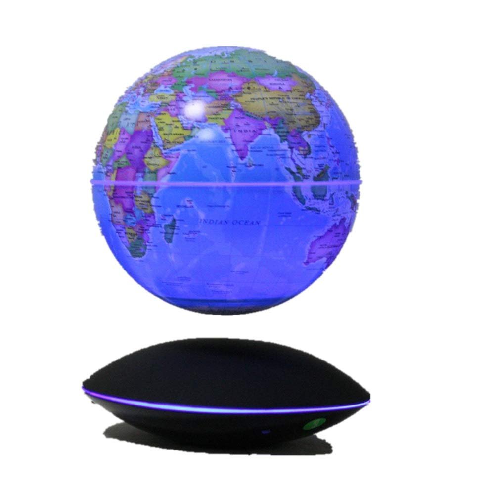 Quisilife World Globe Magnetic Globe Floating World Map Globe with LED Light World Antique Decorative Desktop Office Classroom Educational and Fun for School Children Family (Color : Dark Blue) by Quisilife