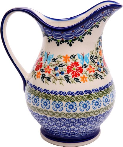 - Polish Pottery Ceramika Boleslawiec Pitcher K Cups, Royal Blue Patterns with Red Cornflower and Blue Butterflies Motif, 4-1/4-Inch