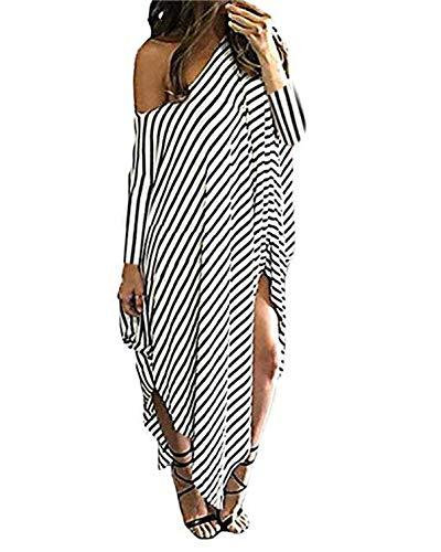 Kidsform Women's Maxi Dress Short 3/4 Sleeve Striped Long Maxi Dresses Casual Loose Kaftan Oversized Round Neck Sundress 3/4 Sleeve-Stripe 2XL