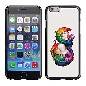Caucho caso de Shell duro de la cubierta de accesorios de protección BY RAYDREAMMM - Apple iPhone 6 - Watercolor Art Woman Mermaid Fairy Girl Paint