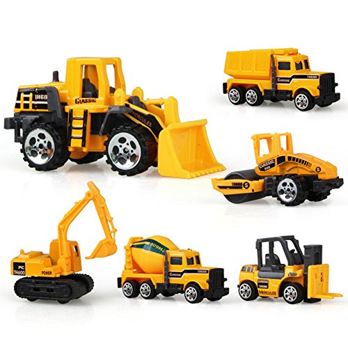 6pcs Authentic Simulate Engineering Vehicle Set Kids' Alloy Toy Birthday Present Bulldozer Dumper Excavator Forklift Agitating Lorry Road Roller Christmas Halloween Gift