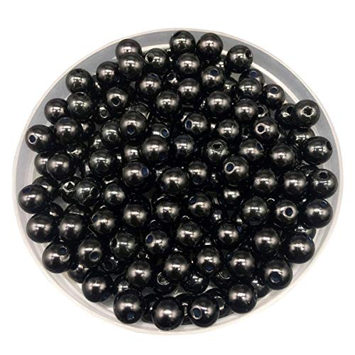LKXHarleya 30pcs 10mm (Black) Imitation Glass Pearls Round Beads Acrylic Loose Beads for DIY Jewelry Making Necklace Bracelet Earrings