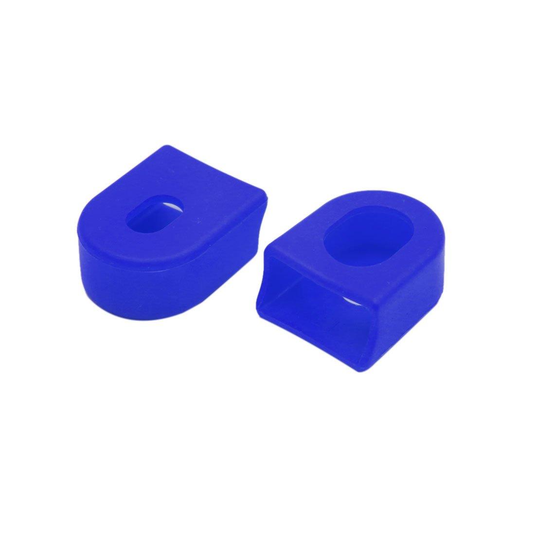 sourcing map 2Pcs Tapa Protector Plástico para Bicicleta Azul Botas del Brazo de Manivela del Plato