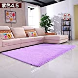 Extra large Baby crawling mat,Long silk wool Solid color Rectangle Carpet,Decorative rugs,For bedroom living room nordic style restaurant bedside blanket-Light purple 60x200cm(24x79inch)