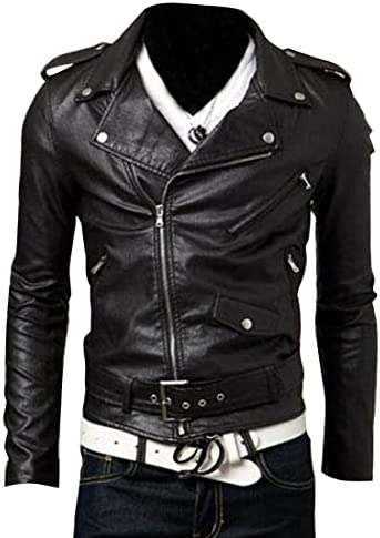 ژاکت دوچرخه زنانه ARTFFEL-Fashion Fashion Oblique Zip Lapel Collar Faux-Leather Biker