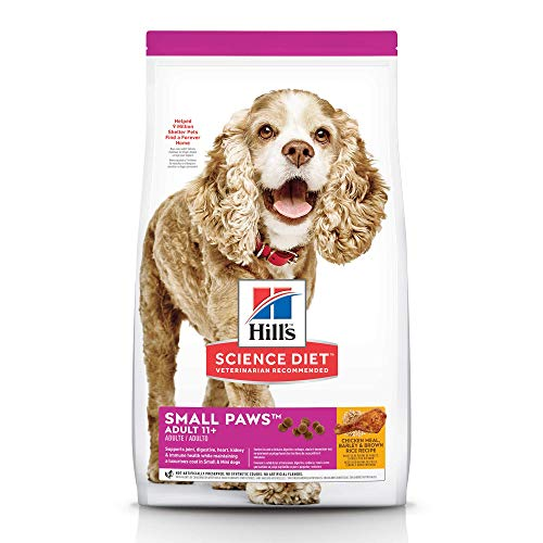 - Hill's Science Diet Dry Dog Food, Adult 11+ for Senior Dogs, Small Paws, Chicken Meal, Barley & Brown Rice Recipe, 15.5 lb Bag