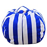 HYDE US Stuffed Animal Bean Bag, Toy Storage Bag, 100% Cotton Canvas Machine Washable, Great for Covers Plush Toys Towels Clothes to Make a Bean Bag Chair (Blue/White Stripe, 26 in)