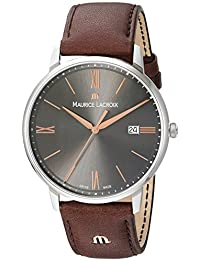 Men's 'Eliros' Quartz Stainless Steel and Leather Casual Watch, Color:Brown (Model: EL1118-SS001-311-1)